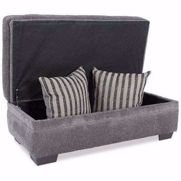 Picture of AKAN GRAY STORAGE OTTOMAN - 6806