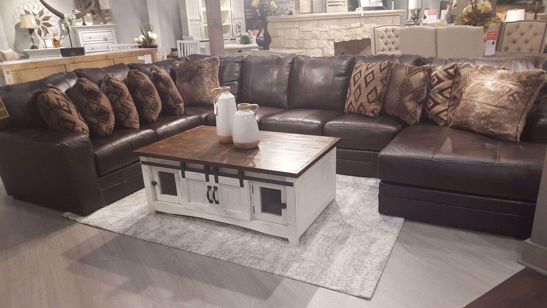 Warren Leather Sectional Only 4 499