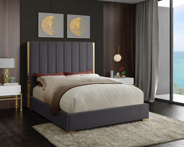 Becca Grey Velvet Queen Bed
