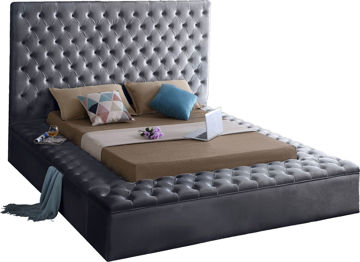 Bliss Grey Velvet King Bed (3 Boxes)