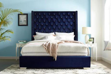 Picture of PARIS BLUE VELVET QUEEN BED - SH228