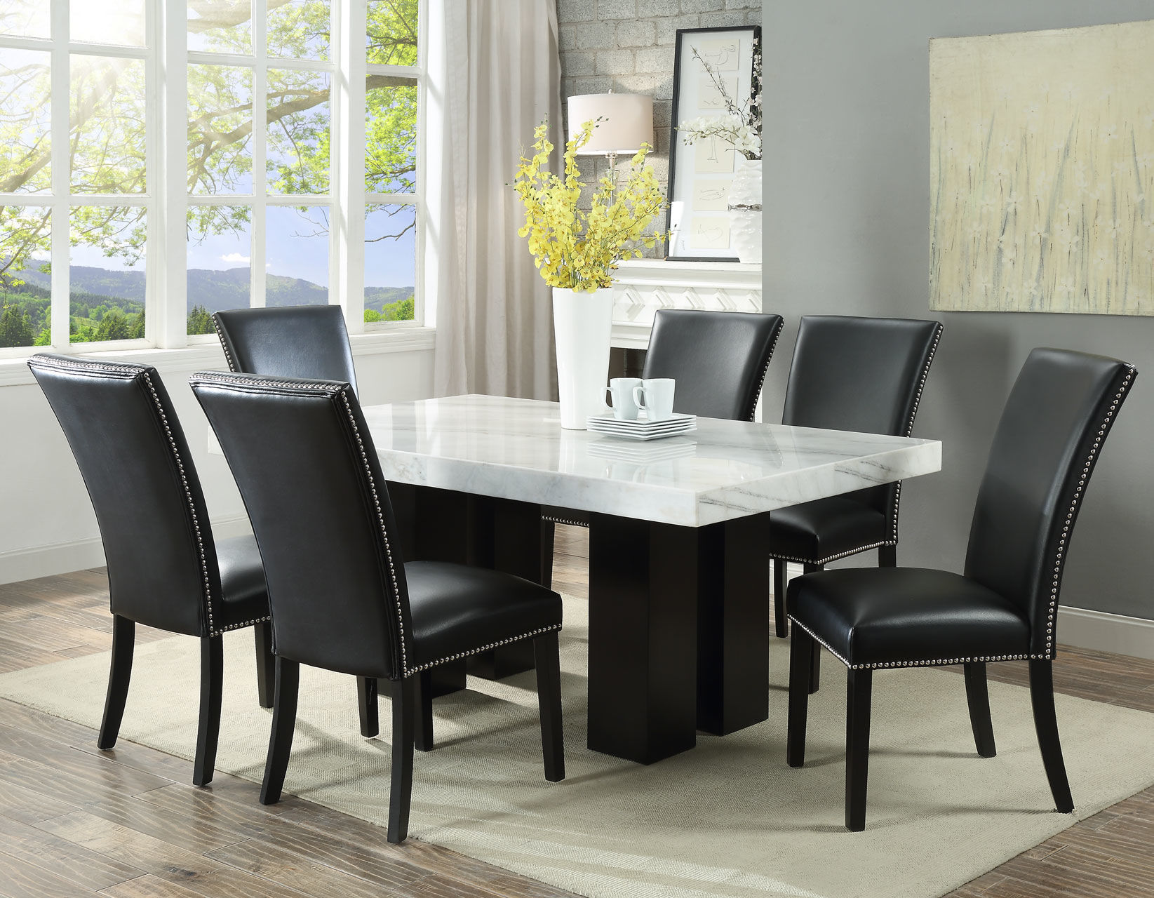 Picture of CARMEN 7PC DINING W BLACK CHAIRS