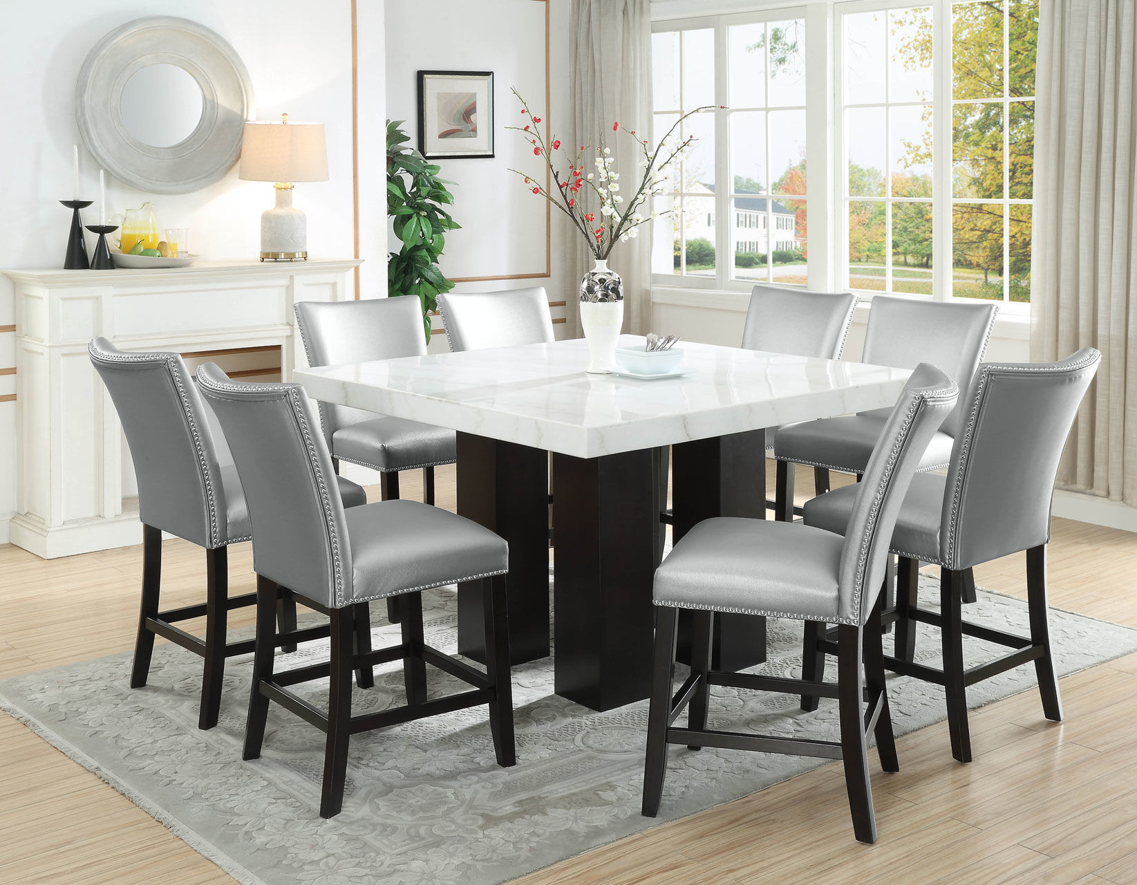 Picture of CARMEN 7PC SQUARE COUNTER HEIGHT DINING SET W SILVER STOOLS - 540