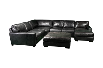 Picture of BECHAM GREY LEATHER SECTIONAL - 4522