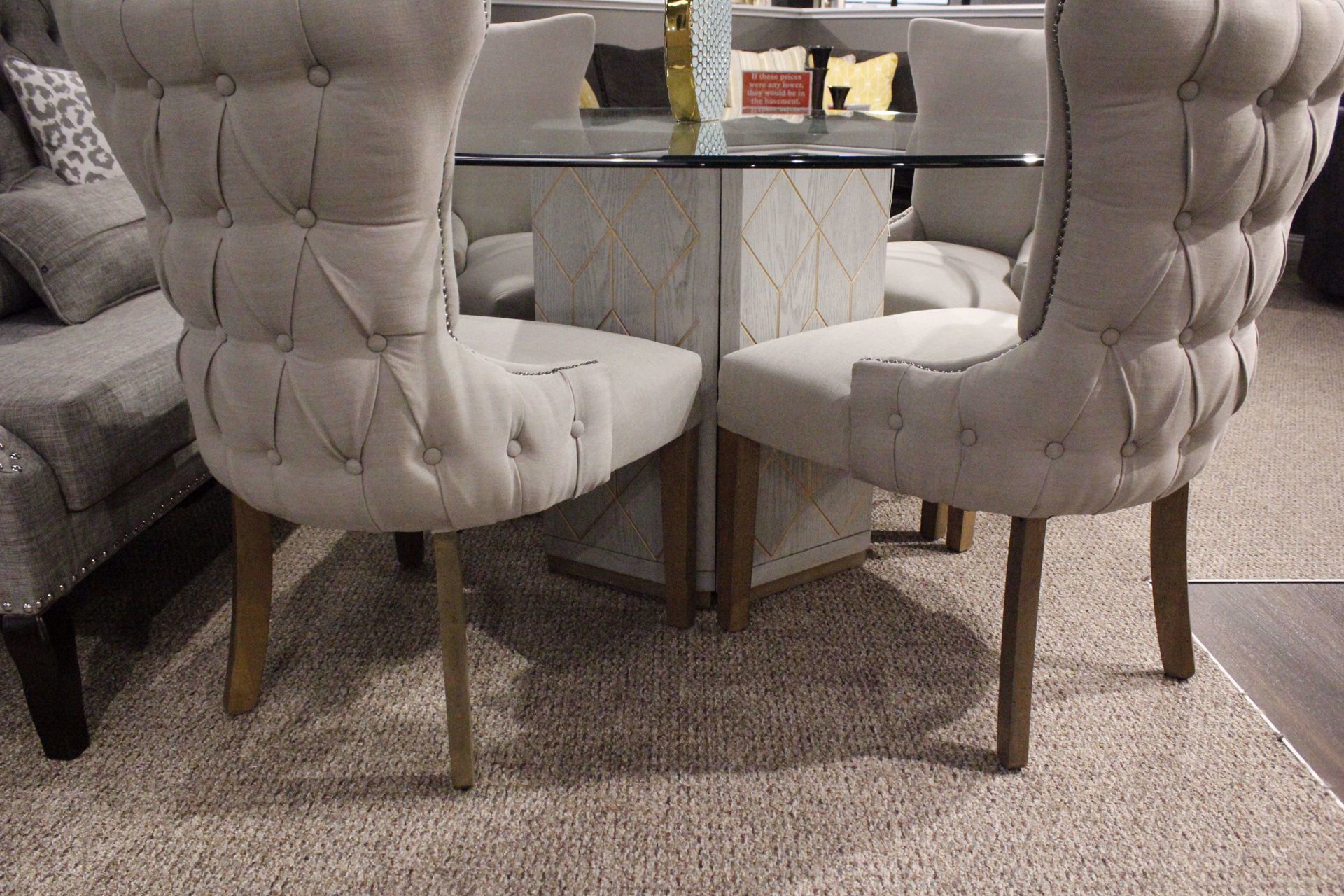 Picture of CAITLIN PUTTY TUFTED BACKCHAIR