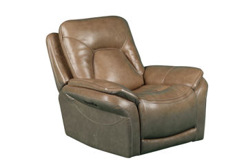 Picture of SIMON TAUPE POWER LEATHER RECLINER - 70059