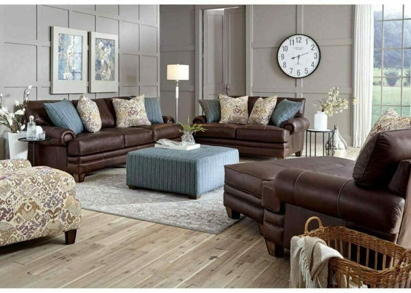 Picture of MONACO CHOCOLATE LEATHER LIVING ROOM - 957