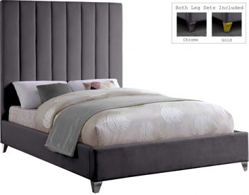 Picture of VIA VELVET GREY KING BED - 336