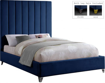 Picture of VIA VELVET NAVY KING BED - 336