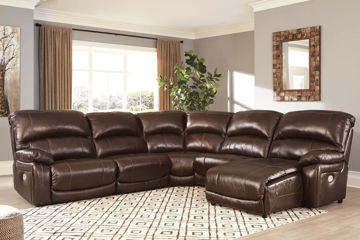 Picture of BIG CHIEF CHOCOLATE LEATHER POWER SECTIONAL - U542