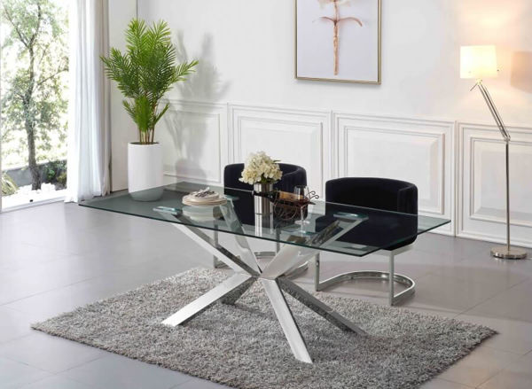 Picture of JUNO CHROME GLASS DINING TABLE