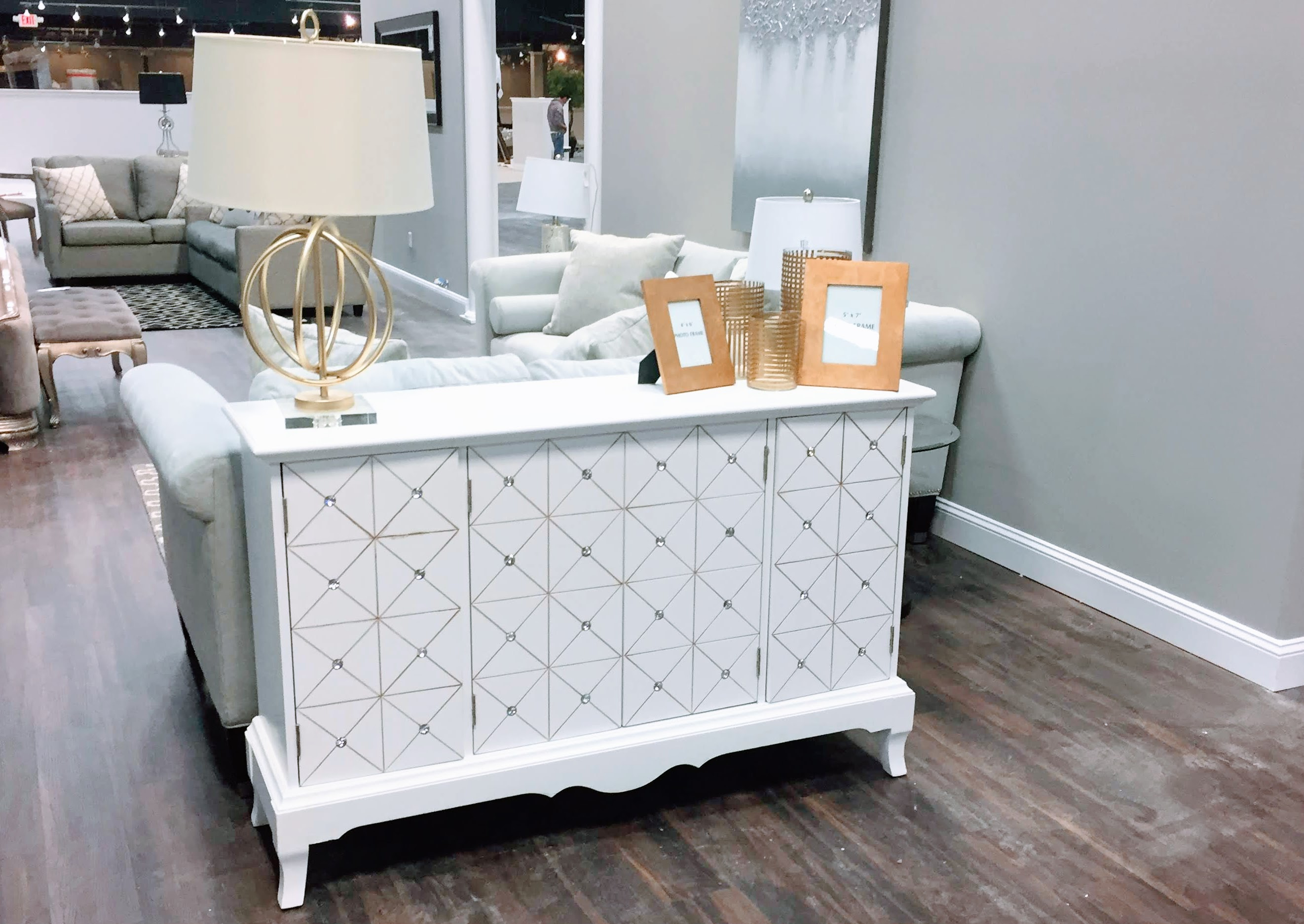 Lovely White Accent Cabinet with Crystal Studs